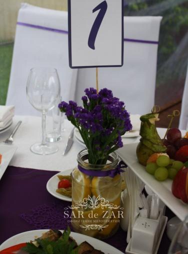 Украшение свадьбы в фиолетовых цветах